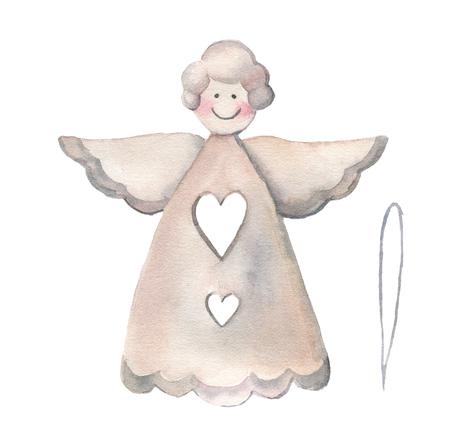 Aquarel kerst engel. Handgeschilderde traditionele inrichting op een witte achtergrond. Vakantie print.