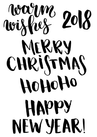 Vector Christmas phrase set. Hand painted Christmas lettering. Holiday text. Happy New year. Merry Christmas. Ho ho ho. Warm wishes. 2018