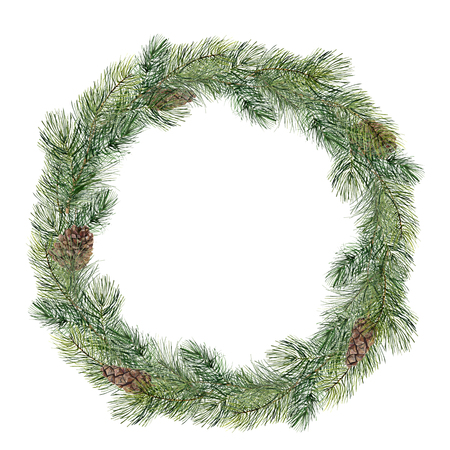 Watercolor Christmas tree wreath. Hand painted fir branch with pine cone isolated on white background. Holiday floral border. Botanical illustration for design, print.