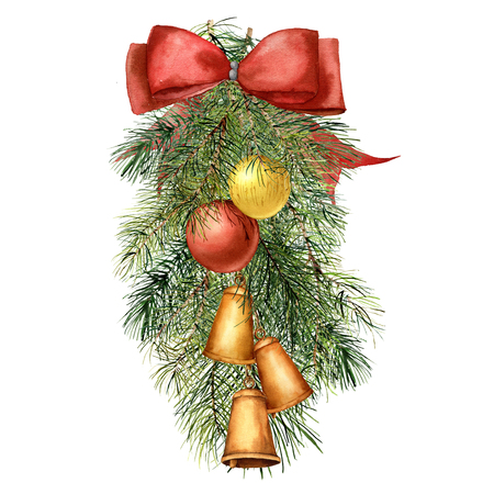 Watercolor Christmas tree composition with decor. Hand painted fir branch with Christmas balls and bells, red ribbon isolated on white background. Holiday traditional decoration for design