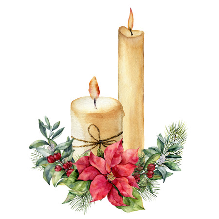 Watercolor candles with Christmas floral composition. Stock Photo