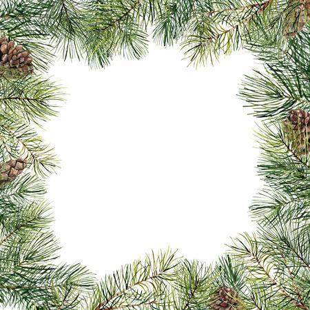松ぼっくりと水彩クリスマスツリーの花のフレーム。手描きモミの枝、白い背景に隔離された松ぼっくり。休日の境界線。冬のカード