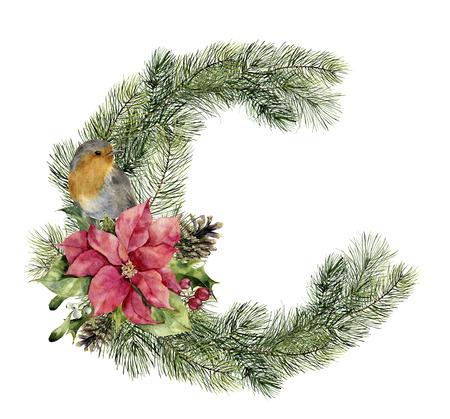 Cartolina di Natale dell'acquerello con uccelli e decorazioni. Archivio Fotografico - 90682226