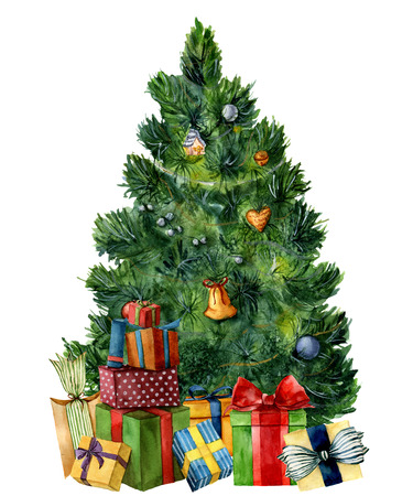 Watercolor Christmas tree with giftboxes. Hand painted pine tree with presents, toys, bells and garlands isolated on white background. Holiday symbol. For design or print.