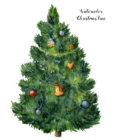 Watercolor Christmas tree. Hand painted pine tree with toys, bells and garlands isolated on white background. Holiday symbol. For design or print.