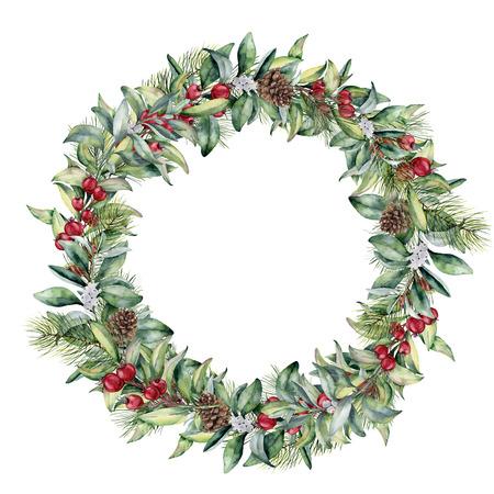 Aquarel winter krans met rode bessen. Handgeschilderde sneeuwbes en eucalyptustak die op witte achtergrond wordt geïsoleerd. Bloemenrand voor ontwerp.
