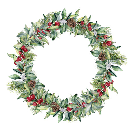 Watercolor winter wreath with red berries. Hand painted snowberry and eucalyptus branch isolated on white background. Floral border for design. Stock Photo