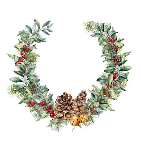 붉은 열매와 소나무 콘 수채화 겨울 화 환. 손으로 그린 된 snowberry 및 유칼립투스 분기, 흰색 배경에 절연 골드 종소리. 디자인에 대 한 꽃 테두리입니