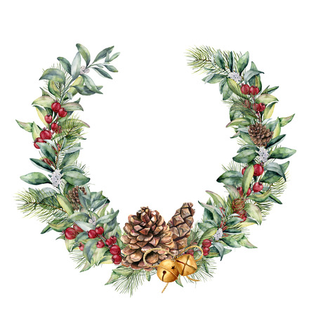 Watercolor winter wreath with red berries and pine cone. Hand painted snowberry and eucalyptus branch, gold bells isolated on white background. Floral border for design.