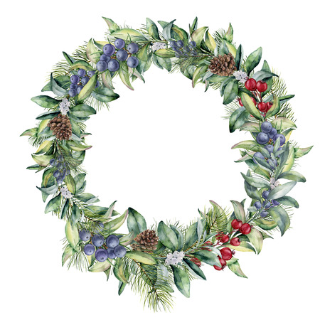 Watercolor winter wreath with red berries and juniper. Hand painted snowberry and eucalyptus branch isolated on white background. Floral border for design.