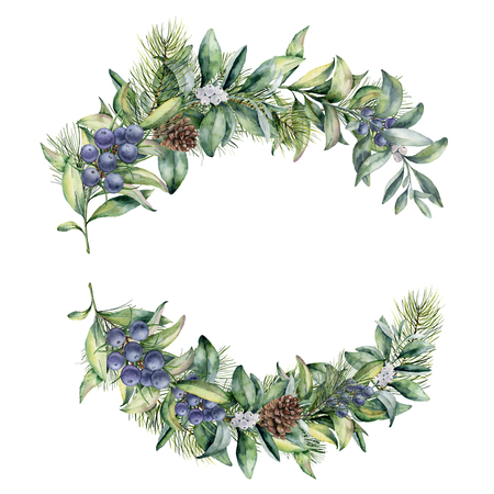 Watercolor winter floral branch with juniper and snowberry. Hand painted floral composition with leaves and branches isolated on white background. Botanical illustration for design. Christmas plant Standard-Bild