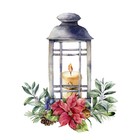 Watercolor Christmas lantern with candle and holiday decor. Hand painted floral composition with holly, mistletoe, poinsettia, fir branch, bells, juniper berries isolated on white background.
