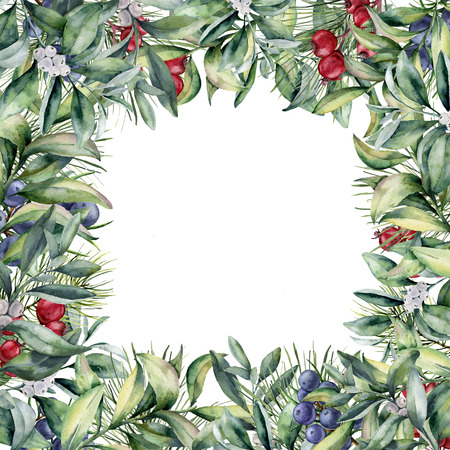 Watercolor winter border. Hand painted floral card with snowberry, eucalyptus and berries isolated on white background. Christmas print for design.