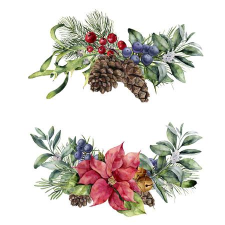 Waterverf het bloemenboeket van Kerstmis. Handgeschilderde poinsettia, snowberry tak, bessen en dennenappel geïsoleerd op een witte achtergrond. Vakantie plant ontwerp.