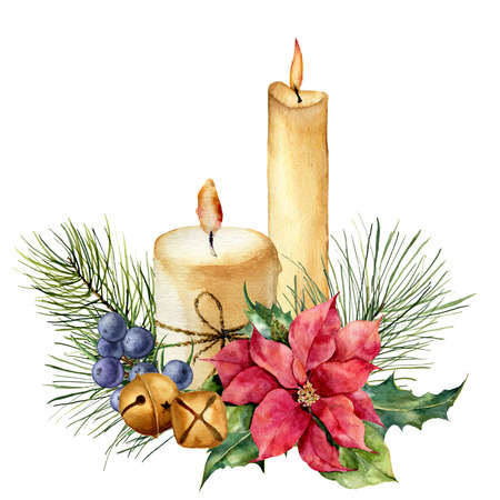 Watercolor Christmas candles with holiday decor. Hand painted floral composition with leaves, poinsettia, bells, juniper berries isolated on white background. Botanical illustration for design. Stock Photo