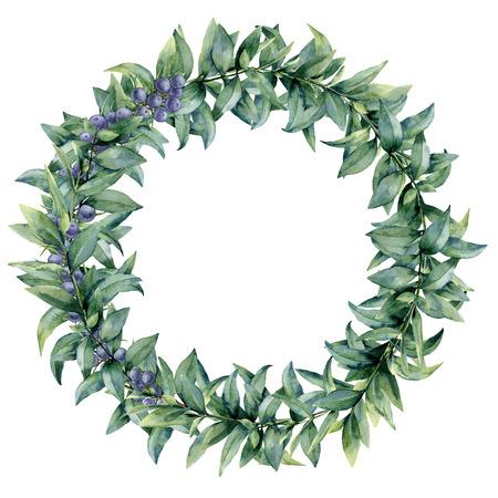 Aquarel eucalyptus elegante krans met jeneverbes. Handgeschilderde exotische bladeren en tak geïsoleerd op een witte achtergrond. Botanische bloemenillustratie. Voor ontwerp of print.
