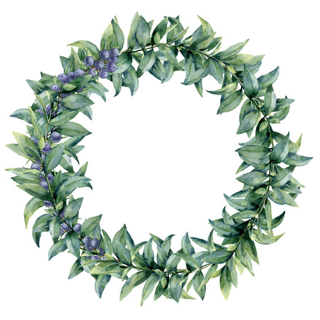 Aquarel eucalyptus elegante krans met jeneverbes. Handgeschilderde exotische bladeren en tak geïsoleerd op een witte achtergrond. Botanische bloemenillustratie. Voor ontwerp of print. Stockfoto - 91888337