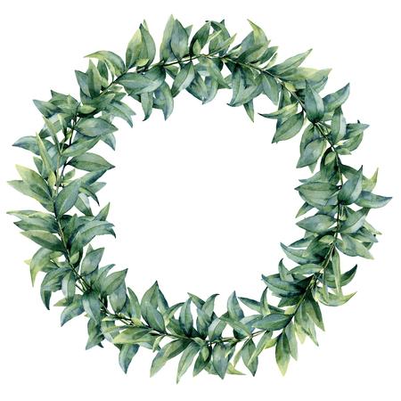 Aquarel eucalyptus elegante krans. Handgeschilderde exotische bladeren en tak geïsoleerd op een witte achtergrond. Botanische bloemenillustratie. Voor ontwerp of print. Stockfoto - 91888338