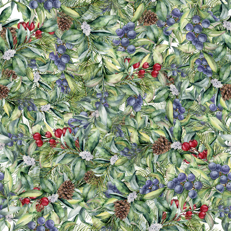 Watercolor floral pattern with eucalyptus leaves and berries. Hand painted exotic branch with white, red and blue berries isolated on white background. Botanical illustration for design and fabric.