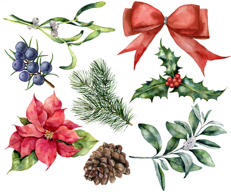Watercolor Christmas decor set with plant. Hand painted red ribbon, poinsettia, holly, mistletoe, pine cone, juniper and snowberry isolated on white background. Holiday plant for design.