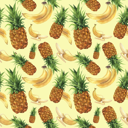 Watercolor pattern with pineapple and bananas. Hand painted tropical fruits with leaves isolated on yellow background. Food botanical illustration for design or print.