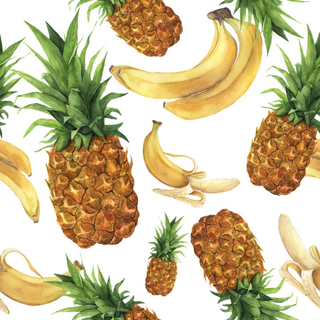 Watercolor pineapple and bananas pattern. Hand painted tropical fruits with leaves isolated on white background. Food botanical illustration for design or print.