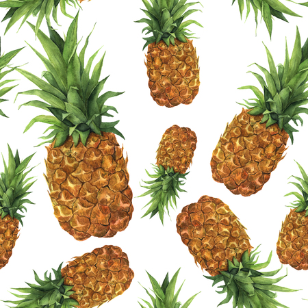 Watercolor pineapple seamless pattern. Hand painted tropical fruit with leaves isolated on white background. Food botanical illustration for design or print.