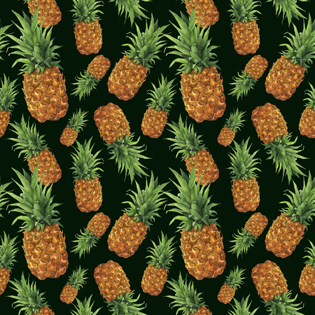 Watercolor pineapple pattern. Hand painted tropical fruit with leaves isolated on dark green background.