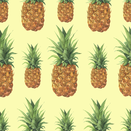 Watercolor pineapple tropical pattern. Hand painted tropical fruit with leaves isolated on yellow background. Food botanical illustration for design or print. Stock Photo
