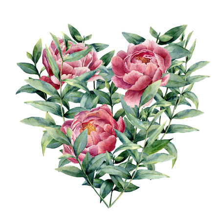 Watercolor floral heart with peony and eucalyptus. Hand painted eucalyptus branches with leaves, flowers isolated on white background. Valentines Day illustration. Stock Photo