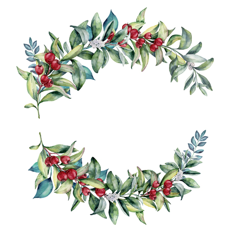 Watercolor floral branch with red berries, eucalyptus. Hand painted floral composition with leaves isolated on white background. Botanical illustration for design. Winter plant