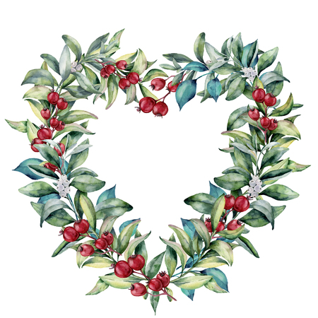 Watercolor floral heart wreath. Hand painted eucalyptus branches with leaves, red and white berries isolated on white background. Valentines Day illustration.