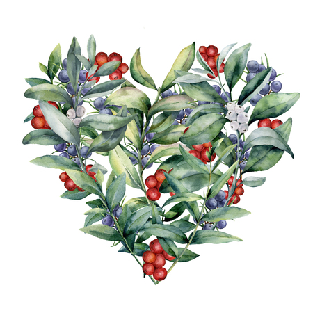 Watercolor floral heart with plant and berries. Hand painted eucalyptus branches with leaves, red and white berries isolated on white background. Valentines Day illustration. Stock Photo