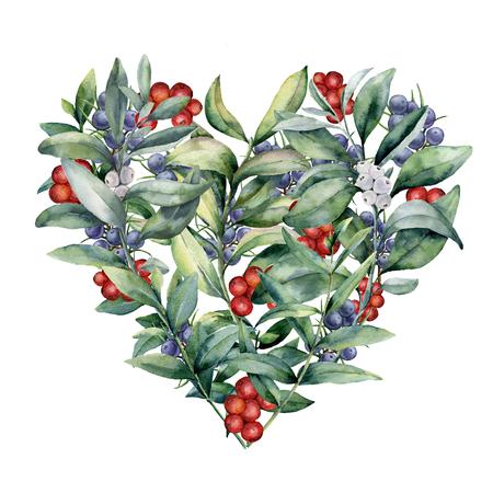Waterverf bloemenhart met installatie en bessen. Handgeschilderde eucalyptustakken met bladeren, rode en witte bessen geïsoleerd op een witte achtergrond. Valentijnsdag illustratie.