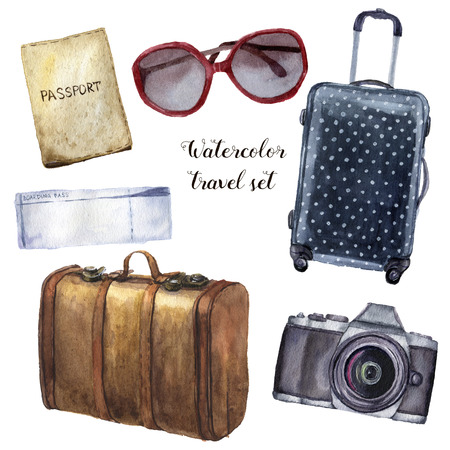 Watercolor travel set. Hand painted tourist objects set including passport, ticket, leather vintage suitcase, polka dot baggage, camera and sunglasses isolated on white background. For design.