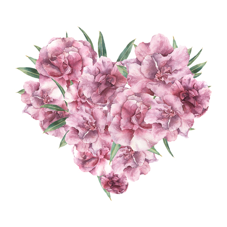 Watercolor floral heart with oleander flowers. Hand painted bouquet with leaves and flowers isolated on white background for design. Valentines Day print. Stock Photo