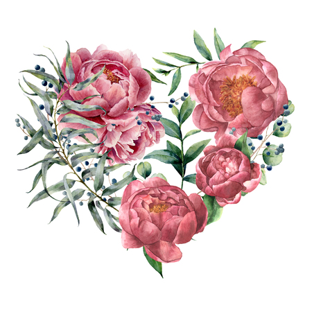 Watercolor floral heart with peony and eucalyptus. Hand painted bouquet with eucalyptus branch and leaves, flowers isolated on white background. Botanical illustration for design. Valentines Day.