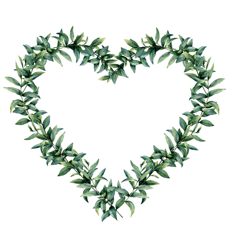 Watercolor eucalyptus heart wreath. Hand painted border with eucalyptus branch and leaves isolated on white background. Botanical illustration for design. Valentines Day print. 스톡 콘텐츠