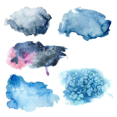 Watercolor blue stains set. Hand painted abstract elements Isolated on white background. For design and prints. Stock Photo