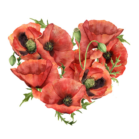 Watercolor heart with red poppies. Hand painted flowers and leaves isolated on white background. Valentines Day print. Floral illustration for design, fabric, card