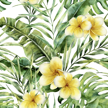 Watercolor pattern with plumeria, palm tree leaves. Hand painted exotic greenery branch. Botanical illustration. For design, print or background Stock Photo