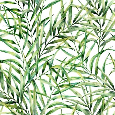 Waterverfpatroon met prachtige palmbladeren. Handgeschilderde exotische groentak. Botanische illustratie. Voor ontwerp, print of achtergrond