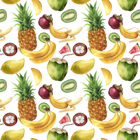 Watercolor seamless pattern with tropical fruit. Hand painted pineapple, bananas, mangosteen, mango, kiwi on white background. Botanical illustration for design, print, fabric.
