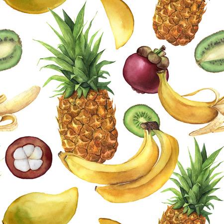 Aquarel patroon met tropisch fruit. Handgeschilderde ananas, bananen, mangostan, mango, kiwi op witte achtergrond. Botanische illustratie voor ontwerp, print, stof.