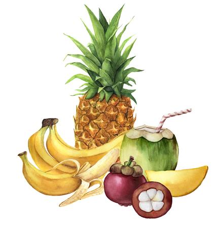 Waterverf tropisch fruit en kokosnotendrank. Ananas, kokosnoot, bananen, mangosteen, mango. Handgeschilderde tropische vruchten geïsoleerd op een witte achtergrond. Voor ontwerp of achtergrond. Voedsel illustratie. Stockfoto
