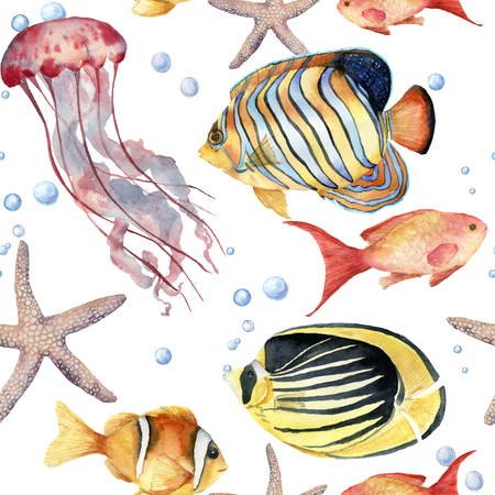 Watercolor seamless pattern with fish. Hand painted tropical fish, starfish, jellyfish, and air bubbles. Nautical illustration for design, print or background. Stock Photo