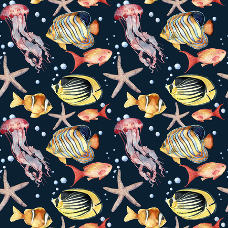 Watercolor seamless pattern with fish on blue background. Hand painted tropical fish, starfish, jellyfish, and air bubbles. Nautical illustration for design, print or background.