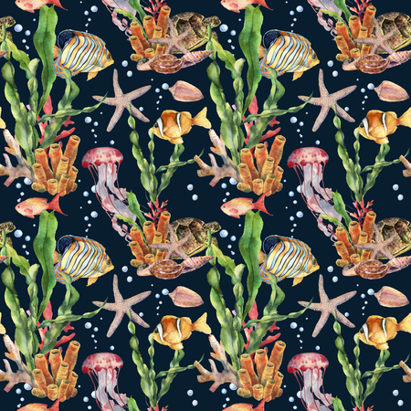 Watercolor seamless pattern with fish and laminaria branch. Hand painted tropical fish, starfish, jellyfish and air bubbles on blue background. Nautical illustration for design, print or background. Stock Photo