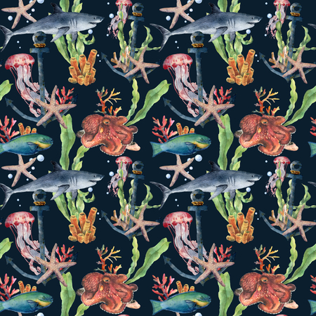 Watercolor seamless pattern with shark and laminaria branch. Hand painted parrotfish, starfish, jellyfish, octopus, coral reef and air bubbles on blue background. Nautical illustration for design.