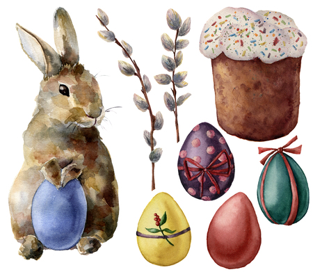 Watercolor Easter symbols set with eggs and bunny. Hand painted color eggs, pussy willow branch, Easter cake, rabbit isolated on white background. Holiday illustration for design and print. Stockfoto